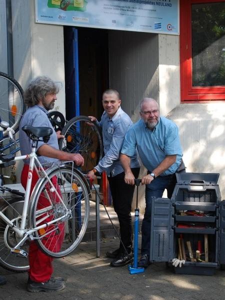 Fahrradwerkstatt in Aktion