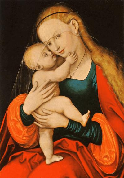 Das Mariahilfbild im Dom zu St. Jakob in Innsbruck. Der Maler Lukas Cranach d.Ä. (1472-1563) hat seinem Glauben, dass Maria, die Mutter Gottes, den Menschen in Sorgen und Nöten Hilfe und Beistand gibt, künstlerischen Ausdruck verliehen.